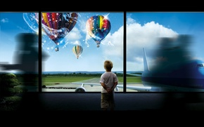 Picture Windows, baby, the plane, the airfield, dispatch