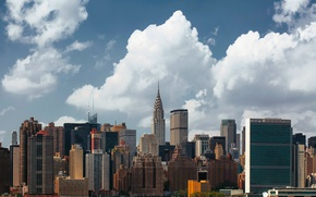Wallpaper clouds, the city, building, USA, New York