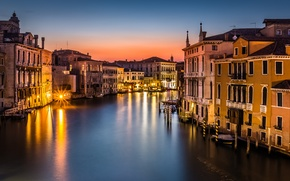 Picture Venice, gondola, Venice, lighting, roof, the city, sea, boats, the evening, building, lights, Italy, The ...