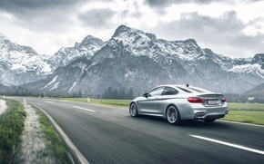 Picture BMW, German, Car, Speed, Mountains, Road, Rear