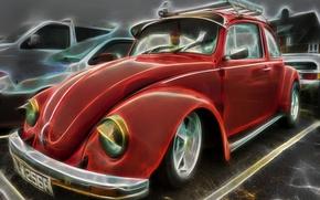 Picture retro, beetle, Beetle, renderin