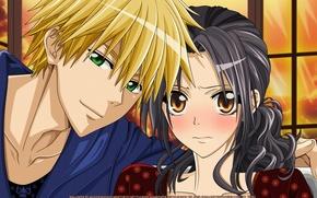"Picture girl, smile, pair, guy, green eyes, blonde, embarrassment, Ayuzawa Misaki, Kaichou wa Maid-sama!, The "" …"