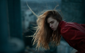Picture girl, background, the wind, Marta, face, hair