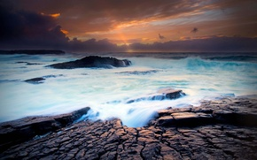 Picture wave, autumn, clouds, sunset, rocks, excerpt, Claire, Ireland, threads, The Atlantic ocean, Spanish Point Is …