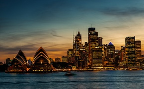 Picture sea, sunset, horizon, Australia, Sydney, Opera house