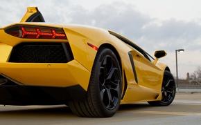 Picture asphalt, strip, yellow, lamborghini, yellow, back, headlights, aventador, lp700-4, Lamborghini, aventador