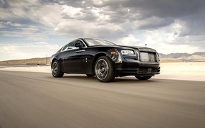 Picture Rolls-Royce, clouds, road, Wraith, the front, auto, the sky, Black Badge