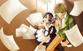 Wallpaper anime, guy, Kaichou wa Maid-sama, Takumi Usui, Misaki Ayuzawa, anime, girl, the maid