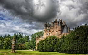 Picture clouds, the city, photo, castle, lawn, HDR, Scotland, Glamis