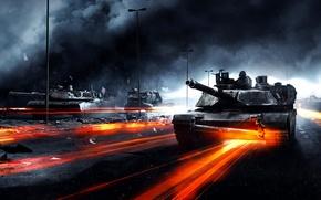 Wallpaper road, war, smoke, tanks, Battlefield 3