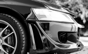 Picture black and white, headlight, wheel