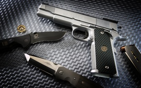 Picture Gun, Wallpaper, Trunk, Weapons, Knives, Gun, Shop, Photo, M1911, 1911, Weapon, Pistol, Handgun, Multi-monitors, Knifes, …
