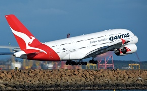 Picture The ocean, Shore, Airport, Sydney, The rise, Beach, Qantas, A380, The plane, Passenger, Airbus, Sydney, …