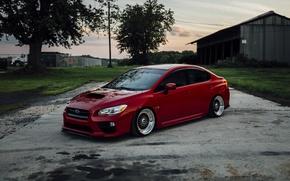 Picture turbo, red, wheels, subaru, japan, wrx, impreza, jdm, tuning, power, front, bbs, sti, face, low