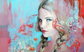 Wallpaper flowers, look, paint, art, background, blonde, face, Emma Uber, braids, hair, figure, girl, blue, pattern, ...