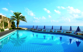 Picture sea, view, pool, Greece, horizon, hotel Athina
