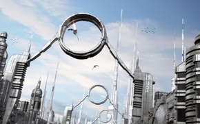 Picture city, sky, water, birds, spaceships, towers, corridor