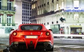 Picture night, red, rain, street, building, Ferrari, red, Ferrari, rain, night, street, building, f12, berlinetta, Berlinetta