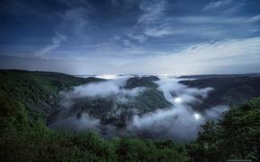 Picture stars, night, fog, river, spring, Germany, Saar loop, Saar
