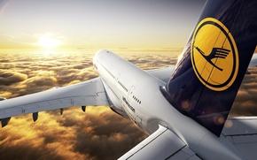 Wallpaper Lufthansa, Passenger, Airbus, The sky, Flight, A380, Horizon, Clouds, Height, The sun, Sunset, Liner, The ...
