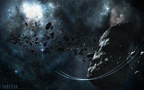 Picture stars, nebula, meteorite