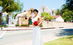 Picture chest, the sky, the city, smile, street, bouquet, Denise Milani, the bride