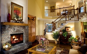 Picture design, house, picture, chair, wardrobe, fireplace, table, living room, interior, home, desigen, stairs., hous