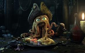 Wallpaper Octopus, Captain, Dinner