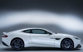 Picture auto, white, Aston Martin, side view, Vanquish Q