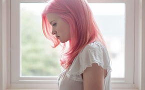 Picture girl, hair, profile, pink