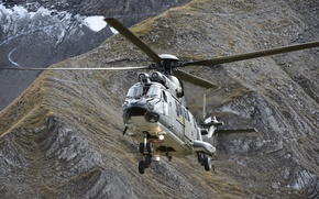 Picture flight, mountains, helicopter, Cougar, multipurpose, Eurocopter