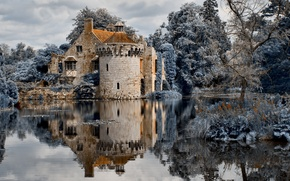 Picture the sky, water, clouds, trees, river, castle, Forest