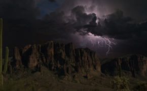 Picture the storm, the sky, clouds, mountains, clouds, rocks, lightning, silhouettes, Arizona