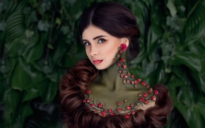 Picture portrait, roses, tattoo, buds, branch, styling, makeup.hair
