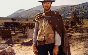 Wallpaper weapons, hill, cemetery, actor, evil, gun, treasure, revolver, actor, Western, good, Clint Eastwood, bad, coat, ...
