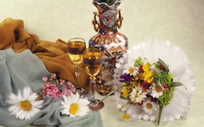 Picture flowers, bouquet, glasses, still life, decanter