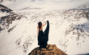 Picture girl, snow, landscape, mountains, view