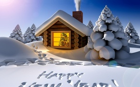 Picture winter, snow, decoration, night, traces, holiday, the inscription, smoke, tree, new year, the snow, house, ...