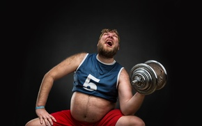 Picture cry, fat, dumbbell