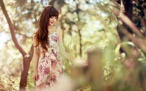 Picture summer, girl, nature, Asian