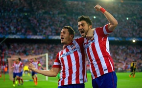 Picture Sport, Football, Football, David Villa, David Villa, Sport, Atletico Madrid, Club Atlético de Madrid, Koke, ...
