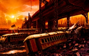 Picture bridge, Apocalypse, train, the car, ruins, Romantically Apocalyptic