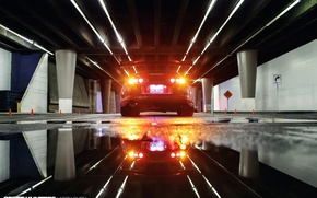 Picture night, lights, reflection, street, puddles, Toyota, rear view, Supra, bokeh, under the bridge