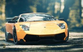Picture Lamborghini, Wheel, Lights, Drives, Supercar, Lights, Murcielago, SuperVeloce, Yellow, LP670-4, Supercar, Wheels, Rims, Spoiler, Spoiler, …