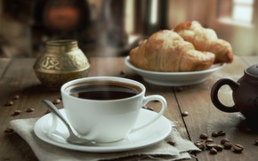 Picture table, coffee, Cup, drink, saucer, grain, napkin, croissants