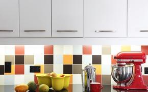 Picture tile, fruit, kitchen, outlet, cabinets, mixer
