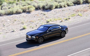 Picture road, car, speed, Rolls-Royce, road, speed, luxury, Wraith, Black Badge