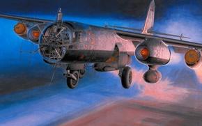 Picture bomber, war, art, painting, aviation, ww2, AradoAr-234B2