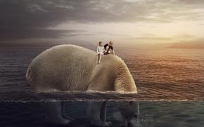 Picture sea, children, bear