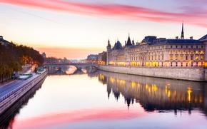 Picture river, France, Paris, Hay, glow